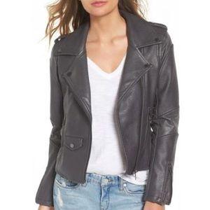 BlankNYC Easy Rider Faux Leather Moto Jacket Grey